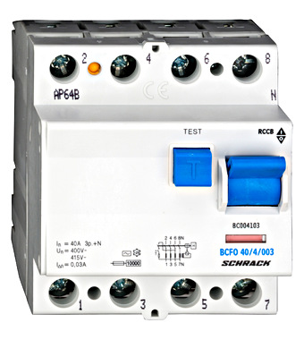 Residual current circuit breaker 40A, 4-pole, 30mA, type AC