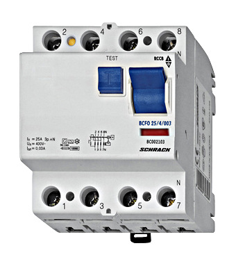 Residual current circuit breaker 40A, 4-p, 30mA, type AC,G,V