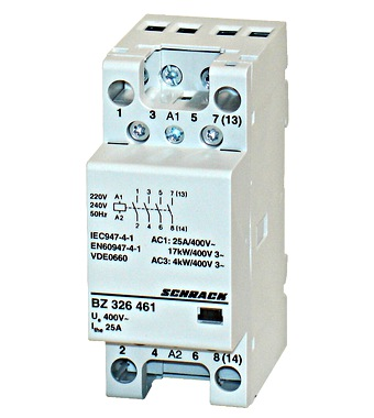 Modular contactor 25A, 4NO, 230VAC 2MW on