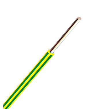 H07V-U (Ye) 1,5mm² gelb/grün, PVC Aderleitung eindrähtig