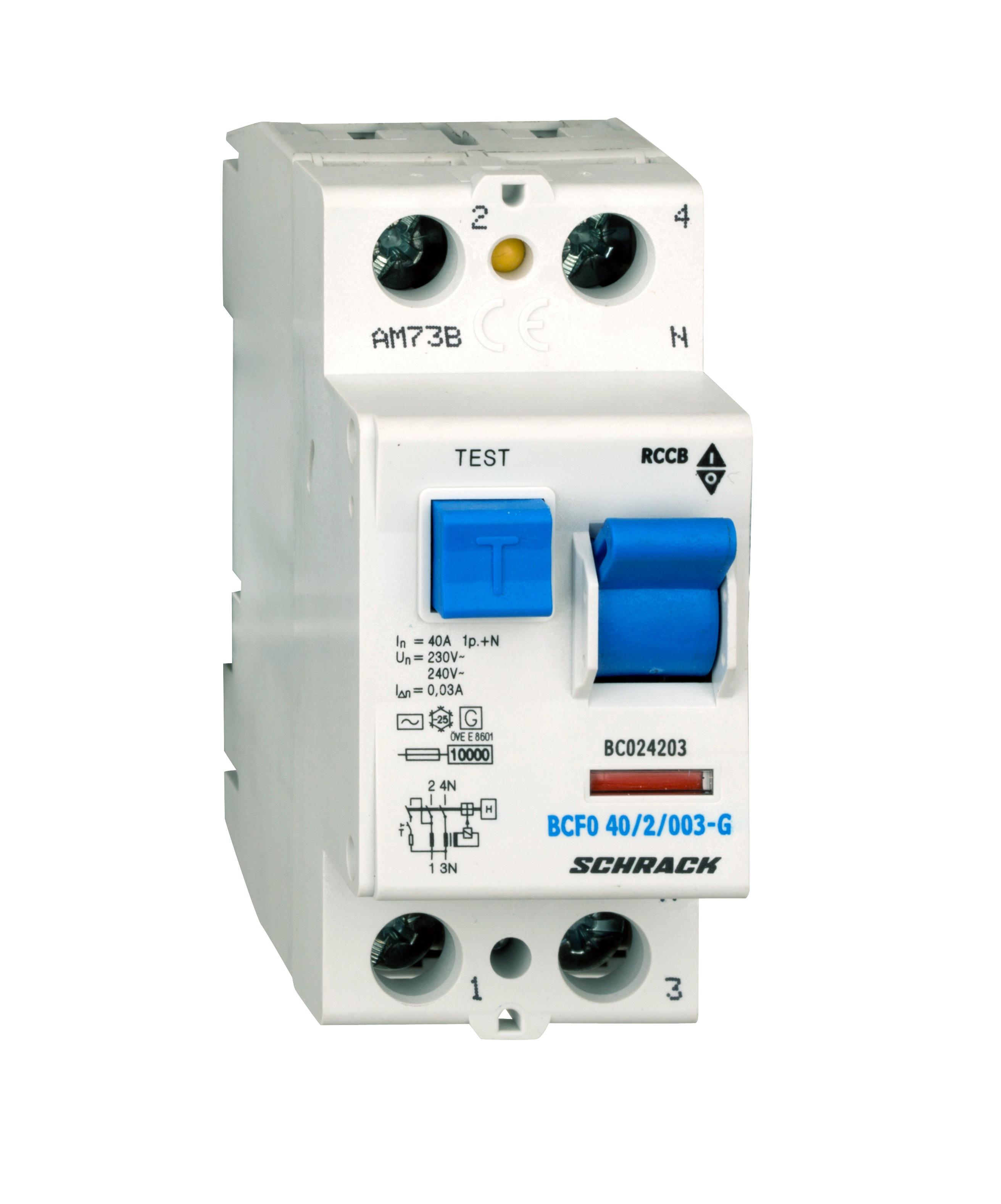 FI-Schalter, 40A, 2-polig, 30mA, Bauart G, Typ AC - Online Shop ...
